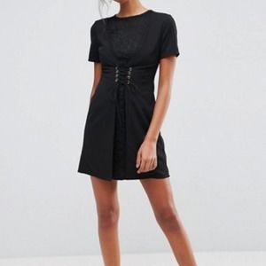 ASOS LBD Black with Lace Dress 6
